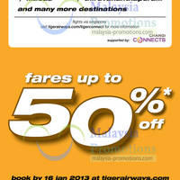 Read more about Tiger Airways Up To 50% Off Air Fares Promotion 10 - 16 Jan 2013