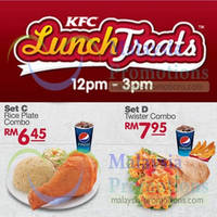 Check out KFC Lunch and Dinner Treats starting at RM6.45. Lunch treats are valid from 12pm to 3pm and Dinner treats are valid from 6pm to 9pm