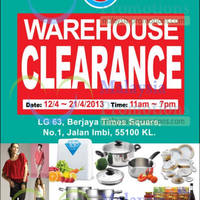 Cosway will be having a warehouse clearance SALE from 12 April to 21 April 2013 from 11 AM to 7 PM at Berjaya Times Square