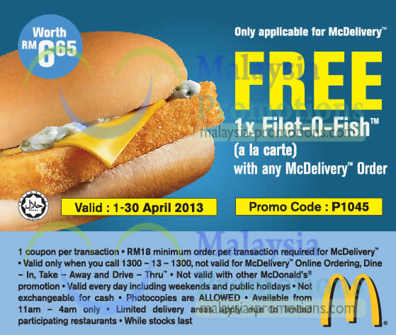 Free 1pc filet o fish burger mcdonald s mcdelivery for Mcdonalds fish sandwich nutrition