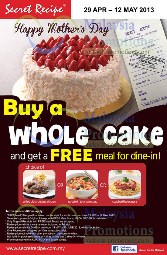 Secret Recipe Wedding Cake Menu Free Meal With Purchase Apr May
