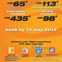 Read more about Tiger Airways Promotion Air Fares 7 - 13 May 2013
