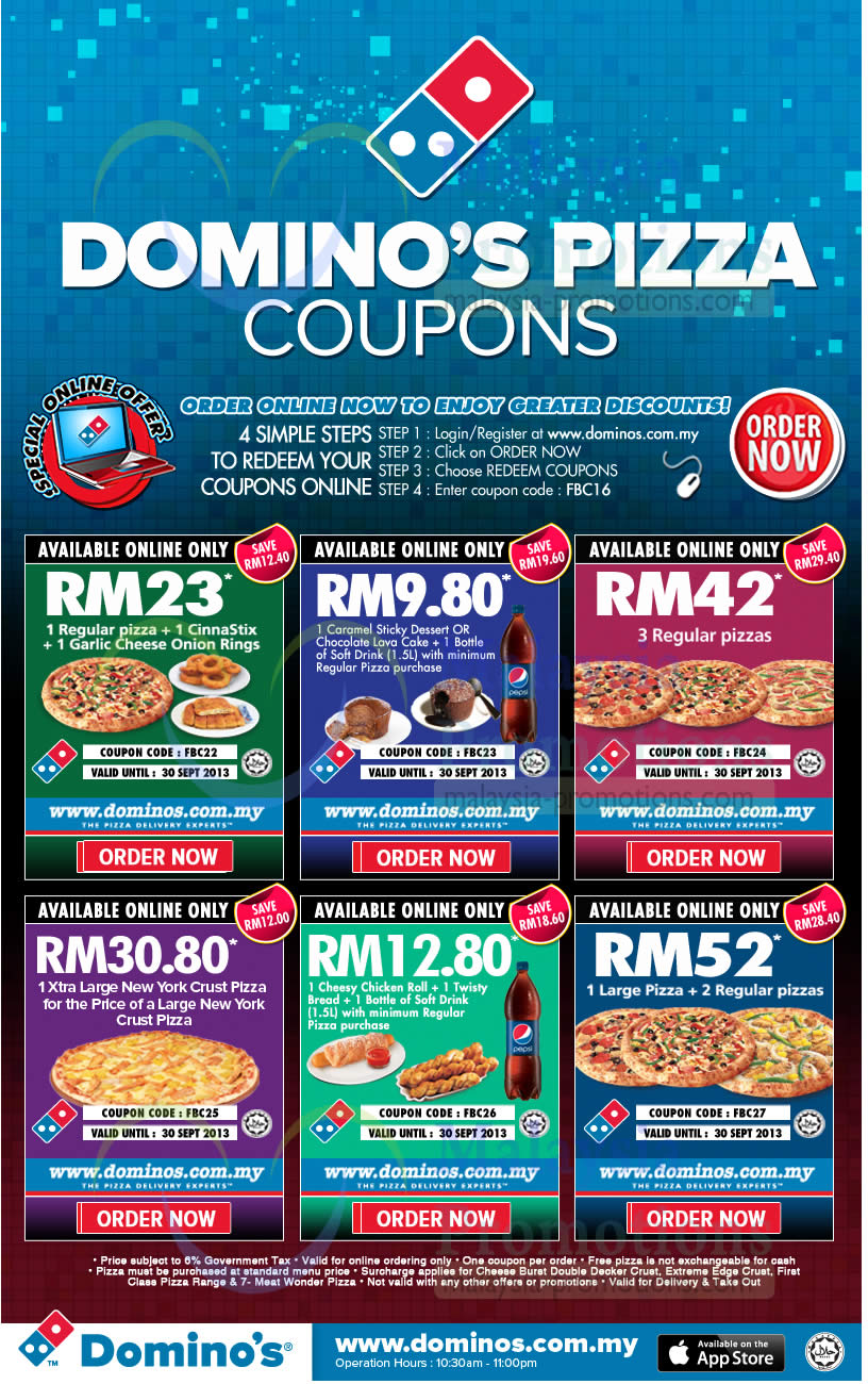 coupons for dominos pizza delivery