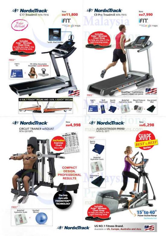 NordicTrack C17 Treadmill NTA-T916, C9 Pro NTA-T915, Circuit Trainer NTA-G010PS, Audiostrider PR990