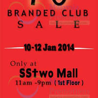 Read more about Branded Club Up To 70% OFF SALE @ SStwo Mall 11 - 12 Jan 2014