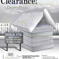 Read more about Dreamland Mattress Warehouse Clearance @ Johor 26 - 27 Apr 2014