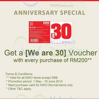 Read more about Kiko Spend RM200 Get FREE RM30 Voucher 1 May - 15 Jun 2014