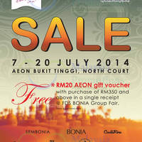 Read more about Bonia Family Day SALE @ AEON Bukit Tinggi 7 - 20 Jul 2014