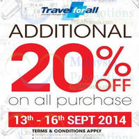 Read more about Travel For All 20% OFF Storewide Promo 13 - 16 Sep 2014