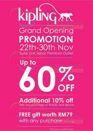 coach premium outlet online jzm1  Kipling Grand Opening Promotion @ Johor Premium Outlets 22  30 Nov 2014