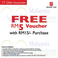 Read more about Memory Lane Spend RM15 & Get FREE RM5 Voucher 17 - 26 Nov 2014