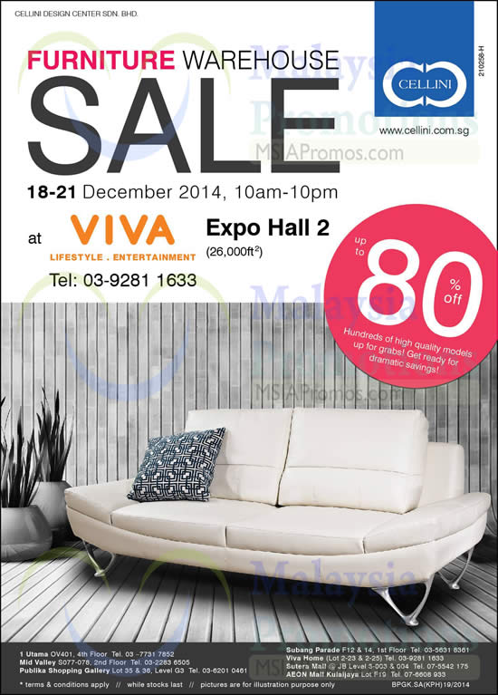 Cellini Furniture Warehouse Sale Viva Home 18 – 21 Dec 2014