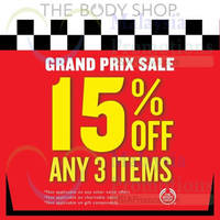Read more about The Body Shop 15% Off Any 3 Items Sale 6 - 31 Mar 2015