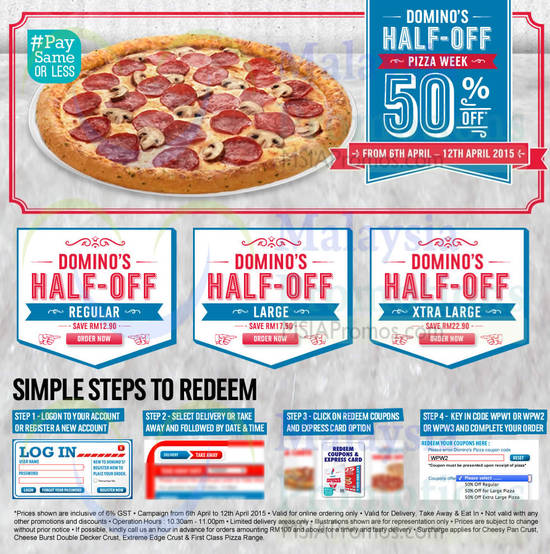 Domino's Pizza 50% Off Pizzas Coupon Codes 6 – 12 Apr 2015