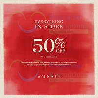 Read more about Esprit 50% Off Everything 2-Days Promo 6 - 7 Jun 2015