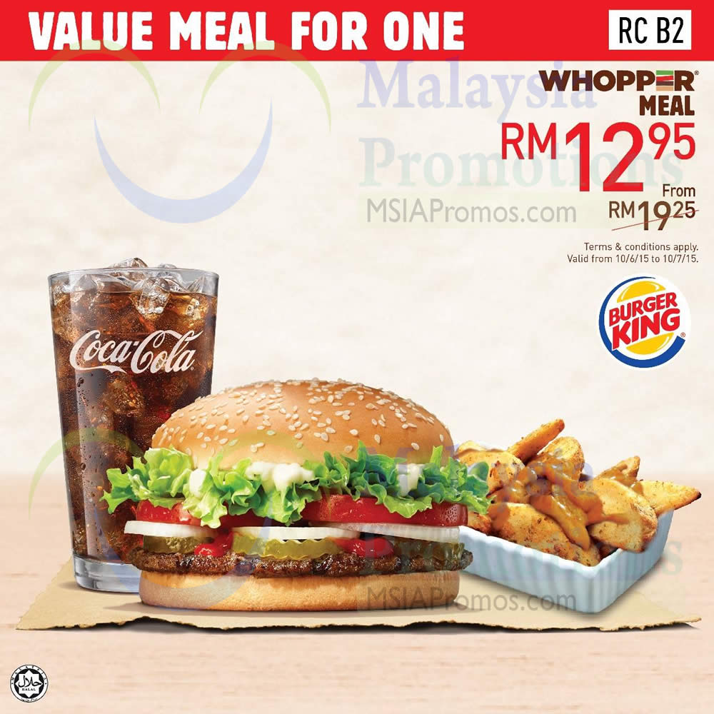 RM12.95 Whopper Meal » Burger King Dine-In Discount ...
