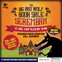 Read more about Big Bad Wolf Book Sale Expo @ Seremban 27 Aug - 1 Sep 2015