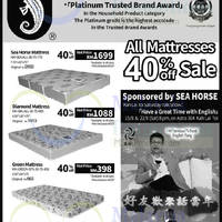 All mattresses 40% off sale at Sea Horse outlets
