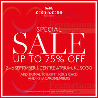 Read more about Coach Up to 75% Off Special Sale @ KL Sogo 2 - 6 Sep 2015