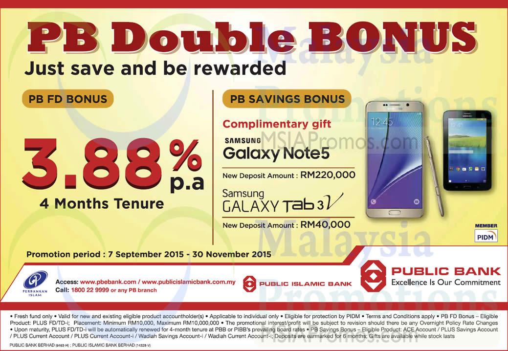 Public Bank 3.88% p.a. FD Bonus 7 Sep – 30 Nov 2015