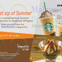 Read more about Starbucks Buy 1 FREE 1 Frappuccino 5pm to 8pm 7 - 11 Sep 2015