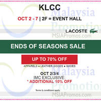 Read more about Lacoste End Of Season Sale @ Isetan KLCC 2 - 7 Oct 2015