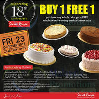 Secret Recipe Buy 1 FREE 1 @ Selected Outlets 23 Oct 2015