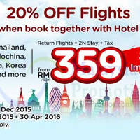 Air Asia Go 20% Off Flights & fr RM359/pax 2N all-in Package Promo 30 Nov - 13 Dec 2015