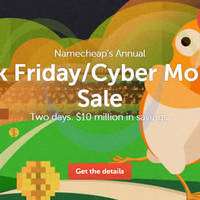 Namecheap Black Friday & Cyber Monday Sale 27 Nov - 1 Dec 2015