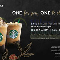 Read more about Starbucks Buy One FREE One Promotion (5pm to 8pm) 19 - 20 Nov 2015