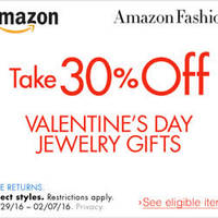 Read more about Amazon.com 30% OFF Valentine's Day Jewellery Gifts (NO Min Spend) Coupon Code 29 Jan - 8 Feb 2016