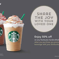 For tomorrow 13 Jan only, enjoy 50% off any handcrafted beverage when you purchase a promotional beverage with your Starbucks Card.