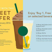 Read more about Starbucks Buy 1 FREE 1 Selected Beverages 21 - 22 Jan 2016