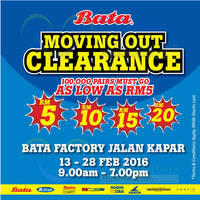 Bata Brands Moving Out Clearance @ Klang 13 - 28 Feb 2016