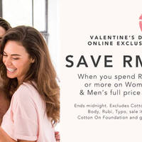 Cotton On RM60 Off Min RM190 Spend Women's & Men's 24hr Promo 14 Feb 2016