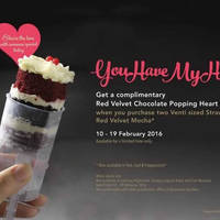 Starbucks Buy 2 Strawberry Red Velvet Mocha & Get FREE Cake 10 - 19 Feb 2016