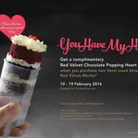 Starbucks Buy 2 Strawberry Red Velvet Mocha & Get FREE Cake 10 - 19 Feb 2016