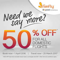 Read more about Firefly 50% Off Base Fares Promo 28 Mar - 1 Apr 2016