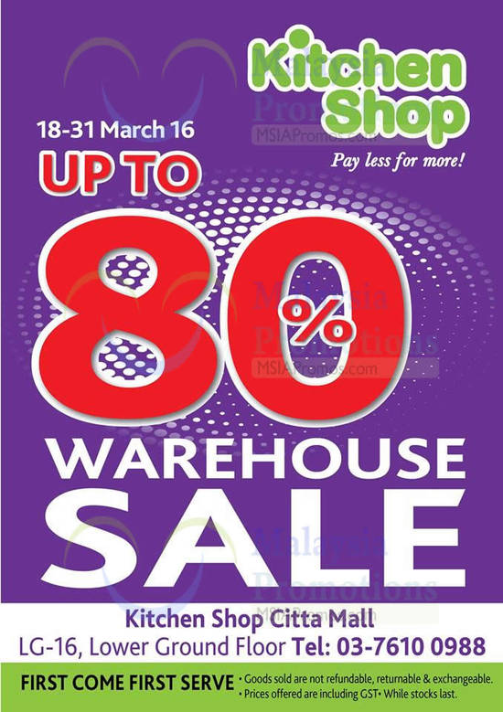 Kitchen Shop Warehouse Sale Venue, Dates, Discount