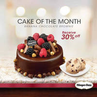 Haagen-Dazs Chocolate Curl Ice Cream Cake is made out of Banana Chocolate Brownie ice cream and beautifully decorated with hazelnuts, chocolate crumble, berries, and chocolate curls.