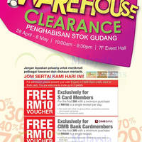KL Sogo will be having an up to 80% Warehouse Clearance from 28 April to 8 May 2016 at 7F Event Hall, 10am to 9.30pm