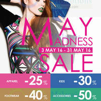 LOGO Fashion Lounge & Gallery will be having a May Madness Sale 2016 from 3 May 2016 until 31 May 2016.