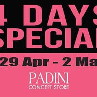Padini's long awaited Concept Store Nationwide 4 Days Special sale is back from 29 Apr to 2 May featuring Super Price items