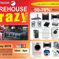 Enjoy discounts up to 70% on home appliances at Fagor's warehouse sale from 27th & 29th May 2016, 10am to 5pm