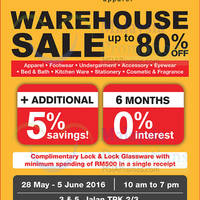 Hush Puppies Apparel will be having a warehouse sale from 28 May to 5 Jun 2016 at Puchong. Featuring discounts of up to 80% off Apparel, Footwear, Undergarment, Accessory and more