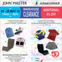 John Master & Schwarzenbach will be having a Warehouse Sale from 25 May to 29 May 2016, 10am-5pm at Puchong Office