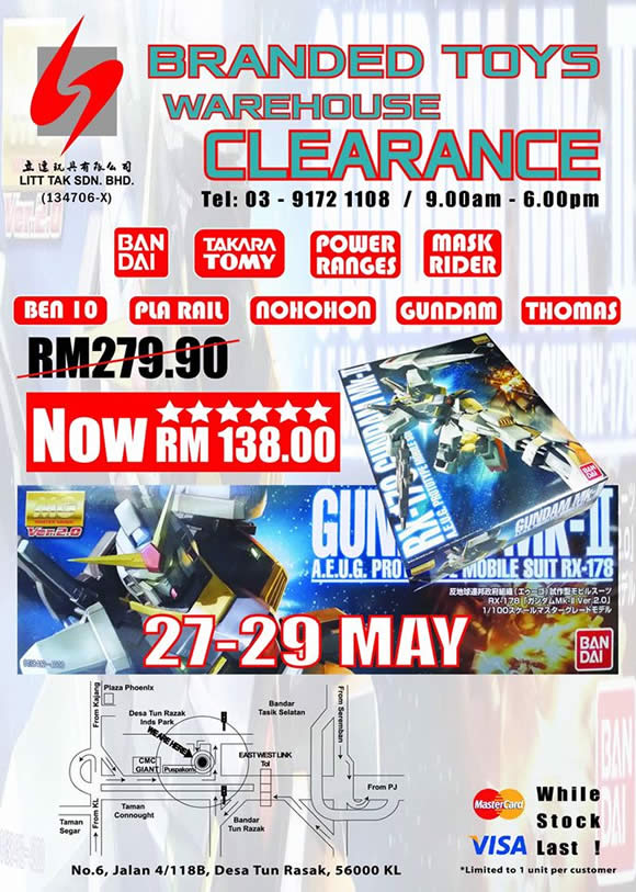 Litt Tak will be having Branded Toys Warehouse clearance from 27 - 29 May 2016, 9.00am - 6.00pm