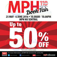 MPH is having a Book Fair at Nu Sentral from now till 6 Jun 2016. Grab the great deals at up to 50% OFF from 10am to 10pm (Mon - Fri) in front of MPH Nu Sentral.