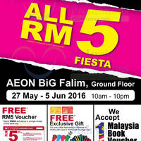 English Made Affordable. The RM5 Fiesta lands at AEON BIG Falim, from 27 May to 5 June!