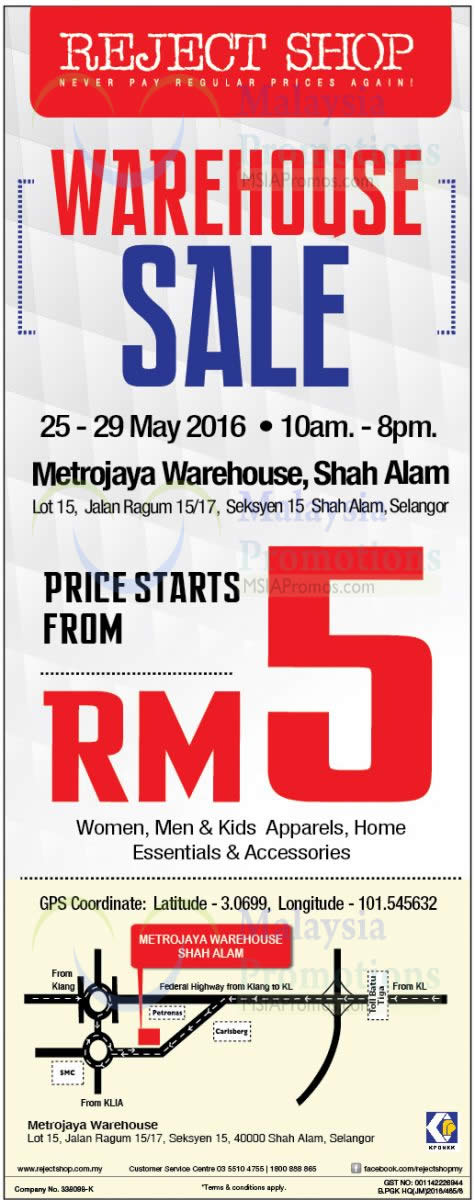 Reject Shop will be having a Warehouse SALE from 25 May to 29 May 2016 at Gudang Metrojaya Shah Alam